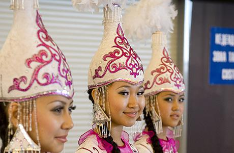 Kazakh girls in national dresses